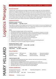Logistics Management Resume Logistics Manager Cv Template Example Job Description