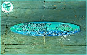 surfer wall art green blue octopus surfboard wall art surf girl wall art mini surfboard wall