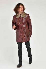adamo man scarlet leather jacket