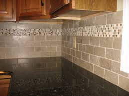 Tiles In Kitchen Subway Tiles With Mosaic Accents Backsplash With Tumbled