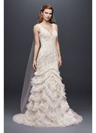 beaded lace wedding dress with plunging neckline david s bridal