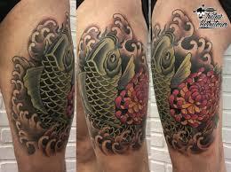 японский карп японская тату тату на ноге