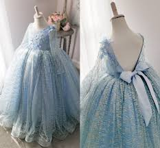Winter Magic Sparkle Flower Girls Dresses 2019 Long Sleeves Bow Back Real Photo Ballgown Princess Little Girls Pageant Gowns Handmade Baby Girl Dress