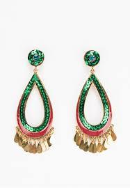wanderland red and green peacock teardrop chandelier earrings wa776ac0ek0yth 1