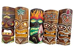 set of 5 unique wooden handcarved 12 quot tall tiki masks tropical wall decor on tiki mask wall art with amazon set of 5 unique wooden handcarved 12 tall tiki masks