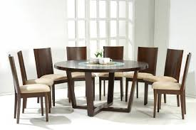 Dark Walnut Modern Dining Table W Glass Inlay Amp Optional Chairs - Round modern dining room sets