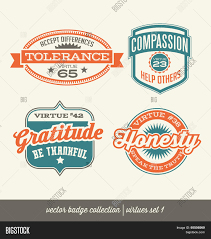badge label collection virtues positive character traits on badge label collection virtues positive character traits on retro style crests