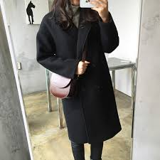2017 new spring woolen coat trench women slim double ted black winter