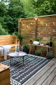 Backyard, Interesting Gray Square Vintage Wooden Back Yard Patio Decorative  Trees On Pollybag And Wood