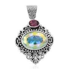 artisan crafted mercury mystic topaz orissa rhodolite garnet sterling silver pendant without chain tgw 7 84 cts lc