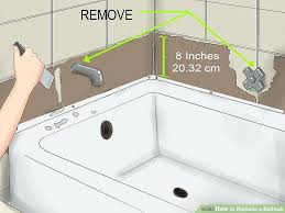 removing old bathtub image titled replace a bathtub step removing bathtub faucets