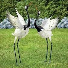 garden cranes. Garden Crane Statues Metal Sculptures Outdoor Yard Decor Art Heron Lawn Pond New . Cranes