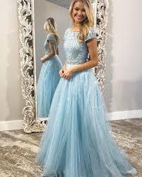 Short Formal Light Blue Dress Jewel Beading Bodice Sparkle Light Blue Tulle Prom Dress With Short Sleeves Pd1754