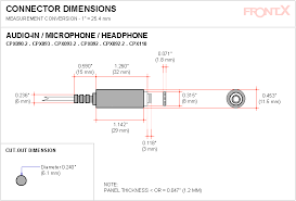 frontx headphone audio out line out internal cable connect diy panel cut out connector dimensions