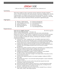 Resume Templates: Director of Member Services