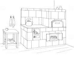 Kachelofen In Einer Ecke Vektorillustration Im Stil Sketch