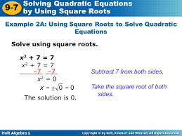 example 2a using square roots to solve quadratic equations