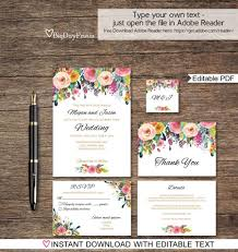 floral wedding invitation printable, wedding invitation template Editable Pdf Wedding Invitations floral wedding invitation printable, wedding invitation template, wedding invitation set, , editable pdf you personalize at home downloadable editable wedding invitations