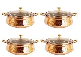 steel copper casserole dish serving daal curry set of 4 handi