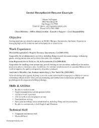 Dental Office Resumes Dental Receptionist Resume Samples Skinalluremedspa Com