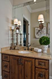 tuscan style lighting. tuscan style bathroom old world feel antiqued mirror travertine rustic hardware lighting