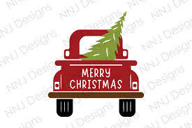 Red retro truck with a fir tree and gifts. Christmas Truck With Tree Svg Clipart Graphic By Nnj Designs Creative Fabrica