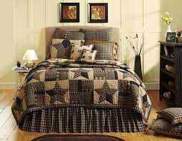 7PC BINGHAM STAR PRIMITIVE COUNTRY QUILT SHAMS PILLOW CASES SKIRT ... & Bingham Star Bedding Collection by Vhc Brands features a block pattern with  bold 5 point stars and strip blocks in charcoal, garnet and sand. Adamdwight.com