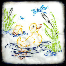 Baby Quilt Embroidery Patterns | makaroka.com & Little Duckling With Dragonfly Embroidery For Baby Quilt I Adamdwight.com