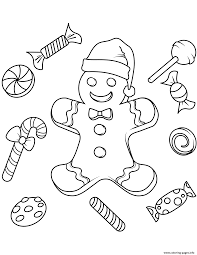 Christmas Gingerbread Coloring Pages Printable