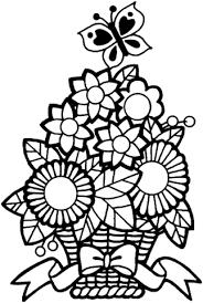 Disegno Di Farfalla Su Un Mazzo Di Fiori Da Colorare Disegni Da