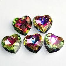 6pcs faceted multicolor titanium crystal heart pendant bead 18x18x8mm c86