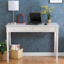 white writing desk with two drawers in rectangular elegant writing desks with drawers designs