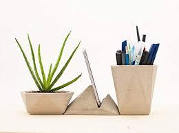 modern desk accessories set. Fine Accessories Modern Geometric Concrete Desk Accessories Set Planter Pen Holder And  Smartphone Stand In Desk Accessories Set