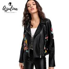 azulina studded fl embroidered faux leather biker jacket autumn winter biker jacket women black motorcycle leather coat suede coat fashion jackets from