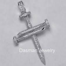 diamond nail cross pendant necklace