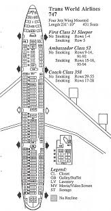 Vintage Airline Seat Map Twa Boeing 747 100 Boeing 747