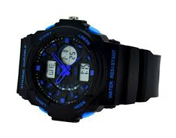 men waterproof lcd digital led military sports wrist watch blue image