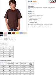 Anvil Youth Shirt Size Chart Size Charts