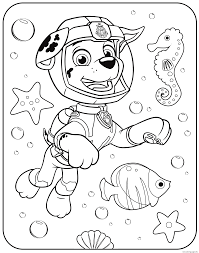Paw Patrol Marshall Underwater Coloring Pages Printable