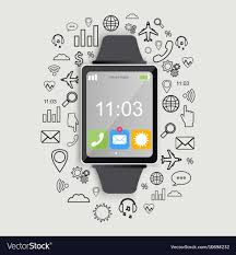 Smartwatch App Design Modern Smart Watch With App Icons Modern Flat