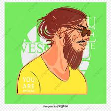 長い髪を巻いたベクトル男 男 漫画の男 ベクトル男画像素材の無料