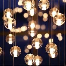 led crystal glass ball pendant meteor rain ceiling light meteoric shower stair bar chandelier lighting drum