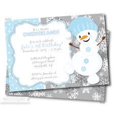 Snowflake Birthday Invitations Winter Onederland First Birthday Invitation