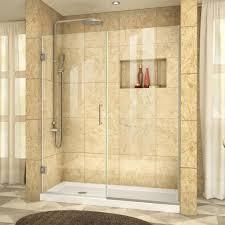 unidoor plus 56 5 to 57 in x 72 in frameless hinged shower door in brushed nickel