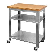 stainless steel kitchen work table cart with bamboo top