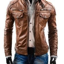 arrow men brown slimfit leather jacket ytut42