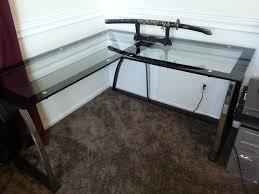 image of glass corner desk designs