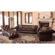 Italian Leather Living Room Sets Abbyson Carmela Chesterfield Premium Top Grain Leather 3 Piece Set