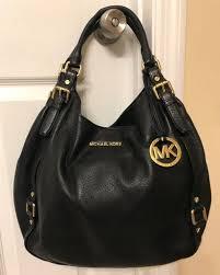 michael kors bedford large black leather tall satchel shoulder bag tote euc
