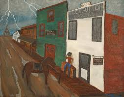 old painting old west town by michael mullennix